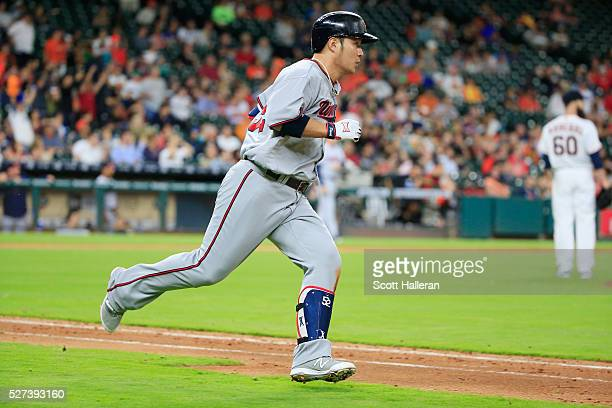 Byung Ho Park of the Minnesota Twins connects on a tworun triple in the fifth inning of their game against the Houston Astros at Minute Maid Park on...