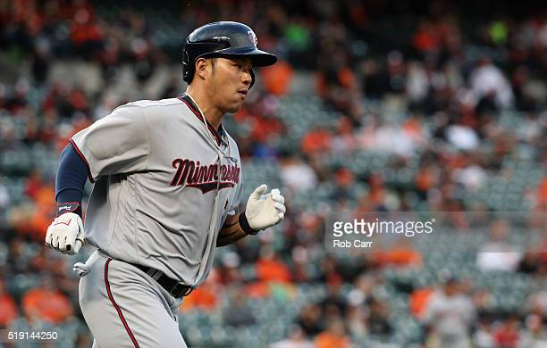 Byung Ho Park of the Minnesota Twins follows his fifth inning single against the Baltimore Orioles during their Opening Day game at Oriole Park at...