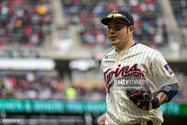 Byung Ho Park of the Minnesota Twins looks on against the Detroit Tigers on April 30 2016 at Target Field in Minneapolis Minnesota The Tigers...