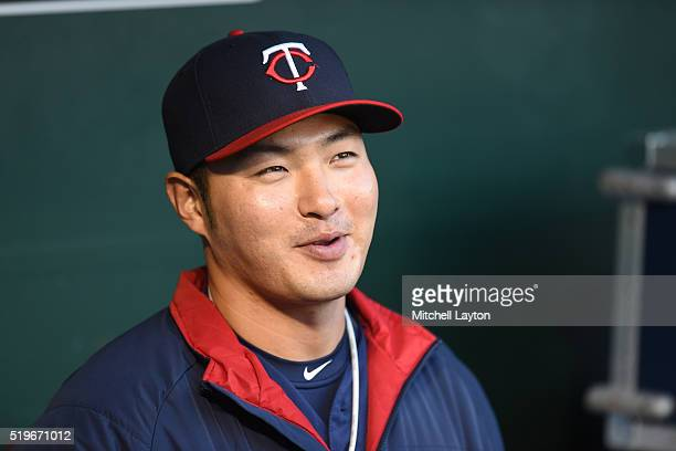 Byung Ho Park of the Minnesota Twins looks on before a baseball game against the Baltimore Orioles at Orioles Park at Camden Yards on April 7 2016 in...