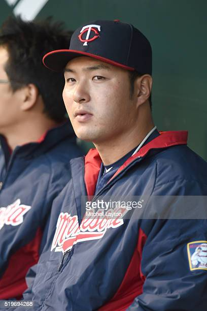Byung Ho Park of the Minnesota Twins looks on during a baseball game against the Baltimore Orioles at Oriole Park at Camden Yards on April 7 2016 in...