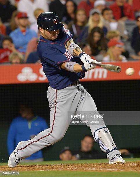 Byung Ho Park of the Minnesota Twins of the Minnesota Twins singles in the fifth inning of the game against the Los Angeles Angels at Angel Stadium...