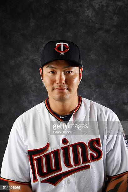 Byung Ho Park of the Minnesota Twins poses for a photo during the Twins' photo day on March 1 2016 at Hammond Stadium in Ft Myers Florida