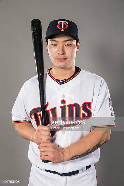 Byung Ho Park of the Minnesota Twins poses for a photo on December 1 2015 at Target Field in Minneapolis Minnesota