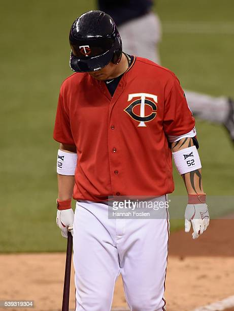 Byung Ho Park of the Minnesota Twins reacts to striking out against the Boston Red Sox during the sixth inning of the game on June 10 2016 at Target...