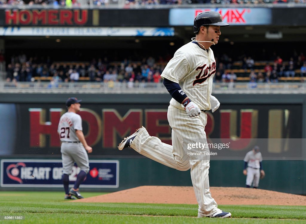Byung Ho Park #52 of the Minnesota Twins rounds the bases after hitting a solo home run as Jordan Zimmermann #27 and <a gi-track='captionPersonalityLinkClicked' href=/galleries/search?phrase=Ian+Kinsler&family=editorial&specificpeople=538104 ng-click='$event.stopPropagation()'>Ian Kinsler</a> #3 of the Detroit Tigers look on during the fourth inning of the game on April 30, 2016 at Target Field in Minneapolis, Minnesota. The Tigers defeated the Twins 4-1.
