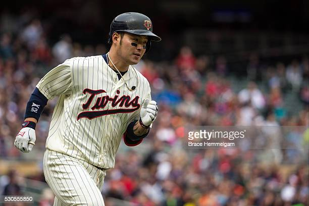 Byung Ho Park of the Minnesota Twins runs after hitting a home run against the Detroit Tigers on April 30 2016 at Target Field in Minneapolis...