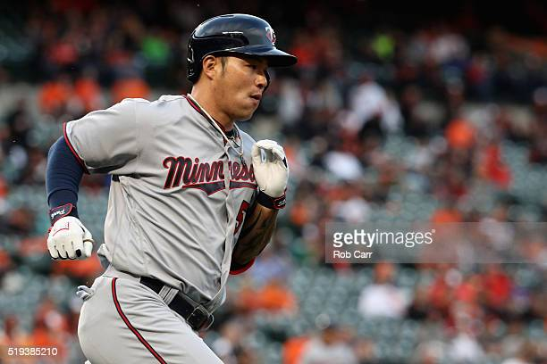 Byung Ho Park of the Minnesota Twins runs to first base against the Baltimore Orioles at Oriole Park at Camden Yards on April 4 2016 in Baltimore...