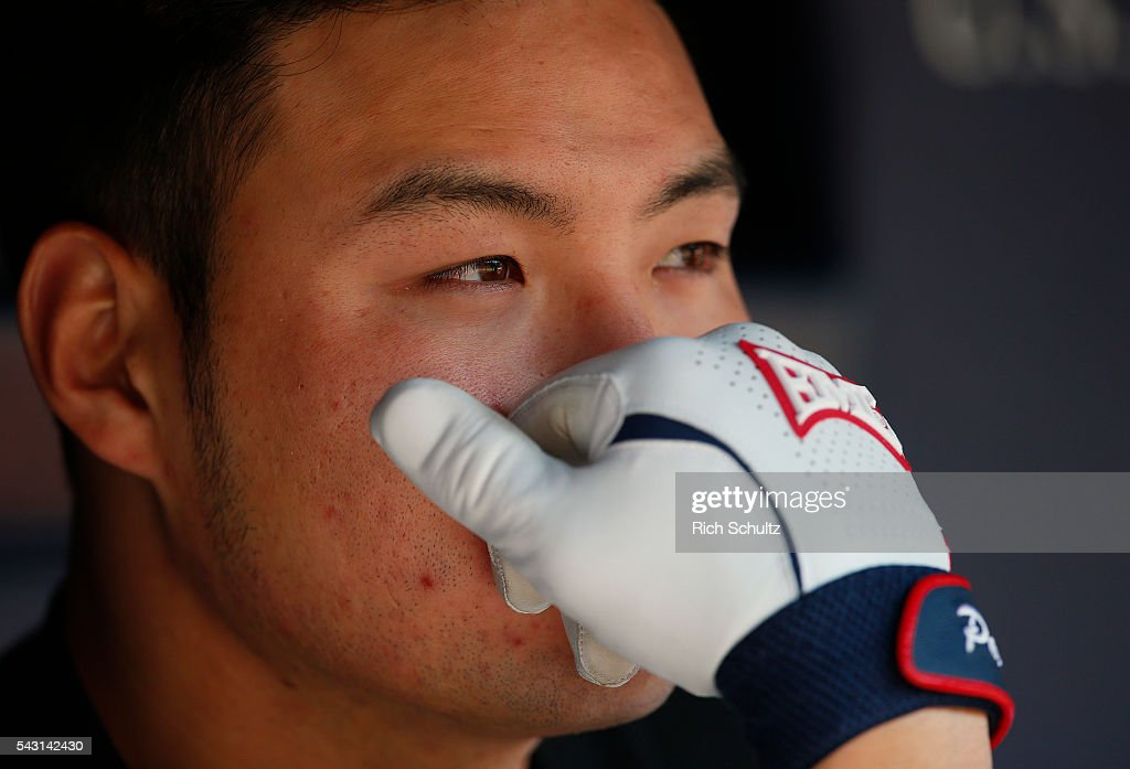 Byung Ho Park #52 of the Minnesota Twins sits in the dugout before a game against the New York Yankees at Yankee Stadium on June 26, 2016 in the Bronx borough of New York City.