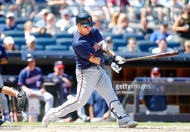 Byung Ho Park of the Minnesota Twins strikes out swinging in the eighth inning against the New York Yankees at Yankee Stadium on June 25 2016 in the...