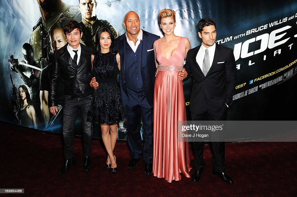 Byung Hun-Lee, <a gi-track='captionPersonalityLinkClicked' href=/galleries/search?phrase=Elodie+Yung&family=editorial&specificpeople=7901076 ng-click='$event.stopPropagation()'>Elodie Yung</a>, <a gi-track='captionPersonalityLinkClicked' href=/galleries/search?phrase=Dwayne+Johnson&family=editorial&specificpeople=210704 ng-click='$event.stopPropagation()'>Dwayne Johnson</a>, <a gi-track='captionPersonalityLinkClicked' href=/galleries/search?phrase=Adrianne+Palicki&family=editorial&specificpeople=632846 ng-click='$event.stopPropagation()'>Adrianne Palicki</a> and DJ Cotrona attend the UK premiere of 'G.I. Joe: Retaliation' at The Empire Leicester Square on March 18, 2013 in London, England.