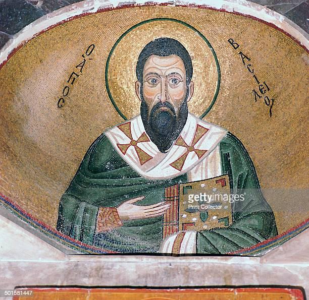 A byzantine mosaic of St Basil in the Katholikon in Osios Loukas Monastery 11th century