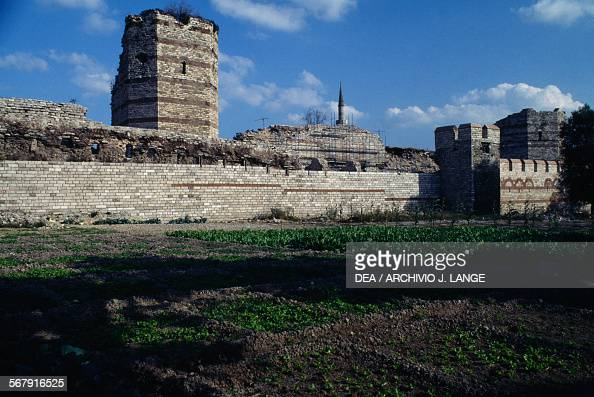Byzantine wall ruins under restoration Istanbul Turkey