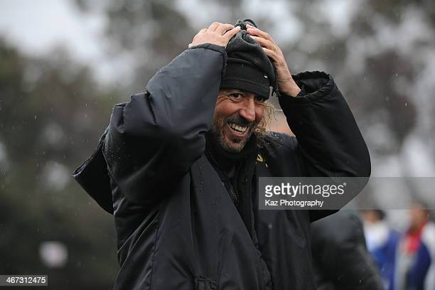 c coach of FC Gifu smiles after the game during the preseason friendly match between FC Gifu and Oita Trinita U18 at Beppu Jissoji Football Field on...