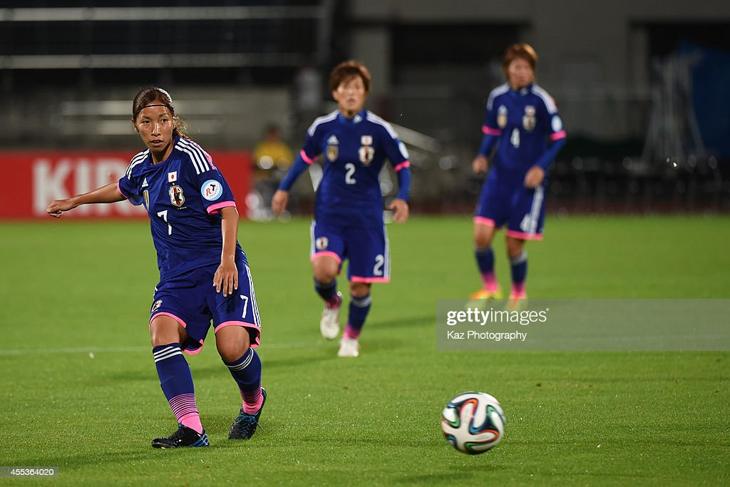c of Japan passes the ball during the women's international friendly match between Japan and Ghana at ND Soft Stadium on September 13 2014 in...