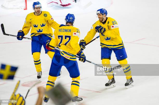 c#77 Victor Hedman celebrates his goal with Joel Lundqvist and Marcus Kruger during the Ice Hockey World Championship Gold medal game between Canada...