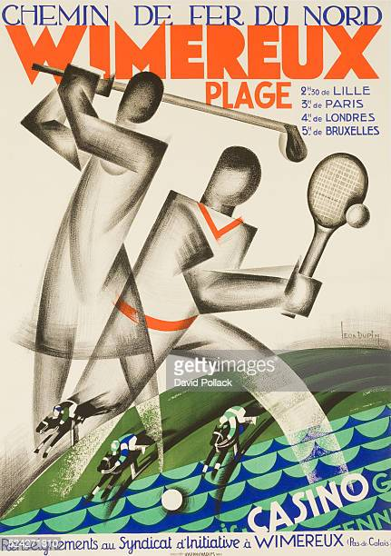 ca 1920s French travel poster Chemin de fer Nord Wimereux Art deco stylied golf and tennis plays with beach horse racing and casinos toutaed as only...