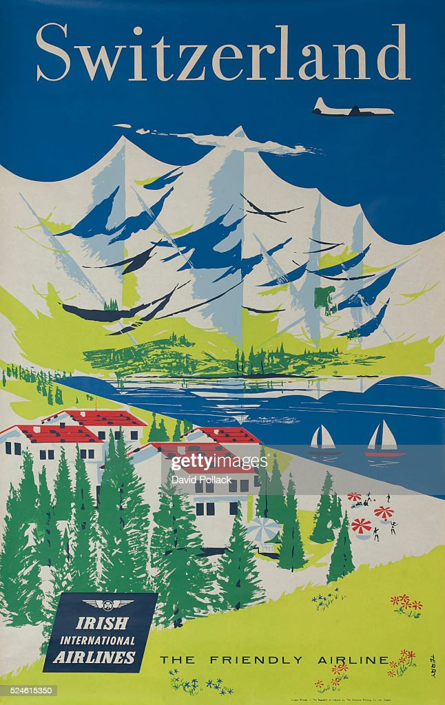 ca 1950s scene of Alps with likeside town and sailboats.