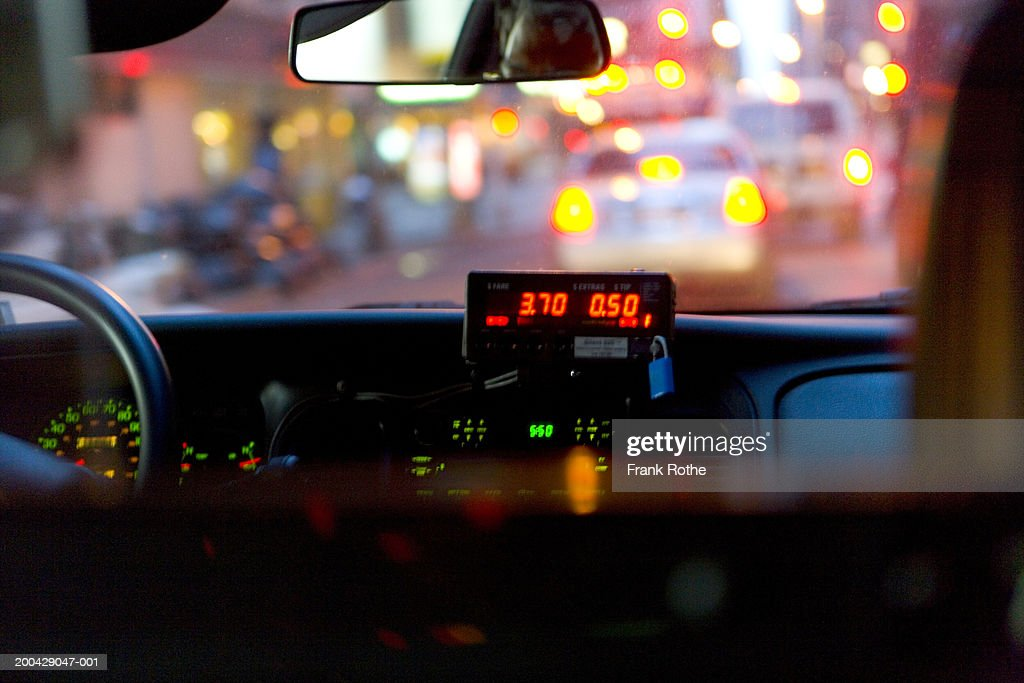 cab meter on dashboard view from car interior night stock photo getty images. Black Bedroom Furniture Sets. Home Design Ideas