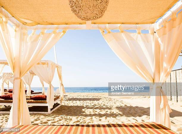 Cabanas on the beach.