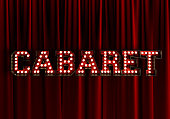 Cabaret In front Of Red Theater Curtain. 3d Rendering.