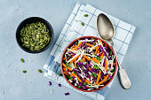 Cabbage carrot pumpkin seed slaw. toning. selective focus