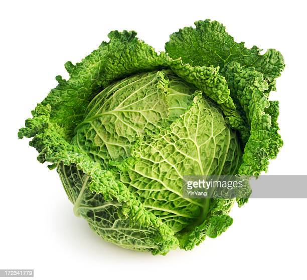 Cabbage Leaf Fresh Green Garden Vegetable Isolated on White Background