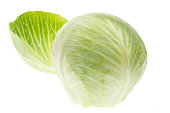 Cabbage with leaf isolated on white background