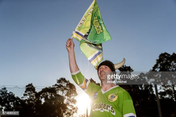 Caberra Raiders fan Dave before the round nine NRL match between the Canterbury Bulldogs and the Canberra Raiders at ANZ Stadium on April 29 2017 in...