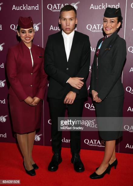 Cabin Crew with Loic Quedec arrive ahead of the Qatar Airways Auckland Gala Dinner at Auckland War Memorial Museum on February 7 2017 in Auckland New...