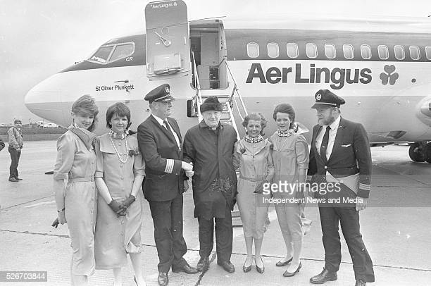 Cabin crew with Monsignor James Horan at Knock Airport for the first commercial Aer Lingus flights which took off on a pilgrimage to Rome