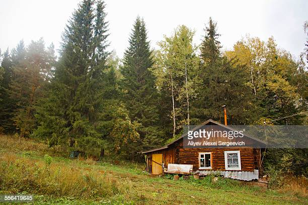 Cabin in front of forest, Sarsy village, Sverdlovsk Region, Russia
