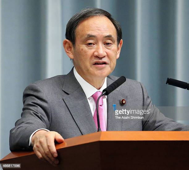 Cabinet Chief Secretary Yoshihide Suga speaks during a press conference at Prime Minister Shinzo Abe's official residence on March 19 2015 in Tokyo...