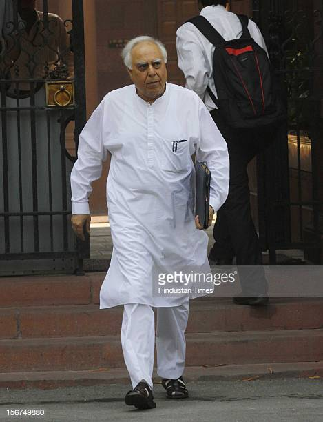 'NEW DELHI INDIA OCTOBER 11 Cabinet Meeting HRD minister Kapil Sibal after the Cabinet Meeting at the South Block at PMs office on October 11 2012 in...
