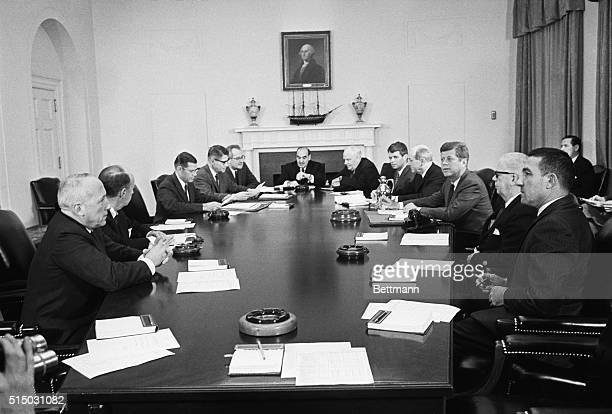 Cabinet Meeting Washington President Kennedy meets with his cabinet at the White House today Left to right Post Master General Edward Day Adlai...
