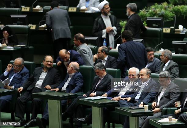 Cabinet members are seen during a vote of confidence session on the President Hassan Rouhani's cabinet in Tehran on August 20 2017