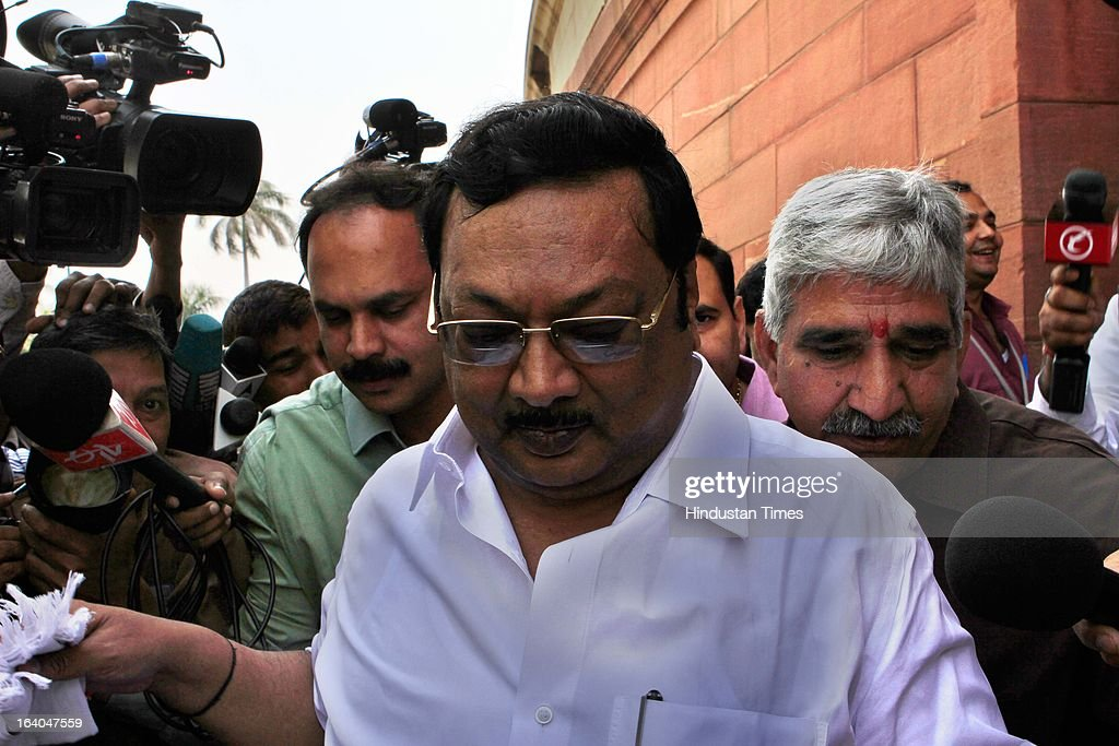 Cabinet Minister and DMK MP M.K. Alagiri at Parliament house during the on going budget session on March 19, 2013 in New Delhi, India. DMK today withdrew its support to the UPA and pulled out its five central ministers over the issue of alleged human rights violations of Tamils in Sri Lanka . The DMK has 18 Lok Sabha MPs and six Rajya Sabha MPs and was the second largest constituent of the Government. With the DMK pullout, the strength of the UPA in the Lok Sabha will be reduced to 224 but with outside support of SP (22) and BSP (21) it enjoyed the support of 281 MPs above the half way mark of 270.