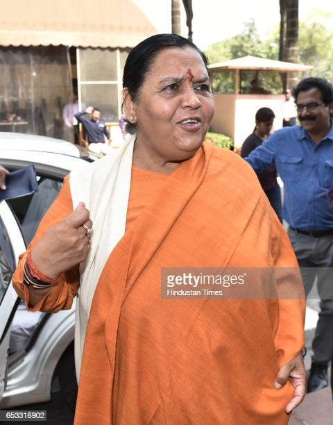Cabinet minister for water resources river development and Ganga rejuvenation Uma Bharti at Parliament during the second leg of budget session on...