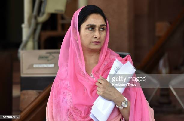 Cabinet Minister Harsimrat Kaur Badal at Parliament during the second leg of Budget Session on April 10 2017 in New Delhi India The Lok Sabha passed...