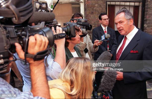Cabinet Minister Jack Cunningham talks to the media during his visit to the Hungerford Drug Project in the heart of Soho central London this morning...