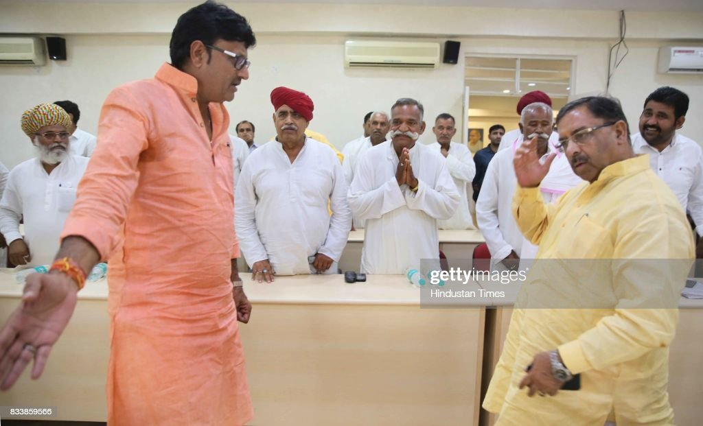 Cabinet Ministers Arun Chaturvedi (right) and Rajendra Rathore (2nd from left) exchange greetings with a delegation of Gujjar leaders, led by Col. Kirori Singh Bainsla (3rd from left), before the meeting over the issue of Gurjar Reservation, at Indira Gandhi Panchaytiraj Institute on August 17, 2017 in Jaipur, India.
