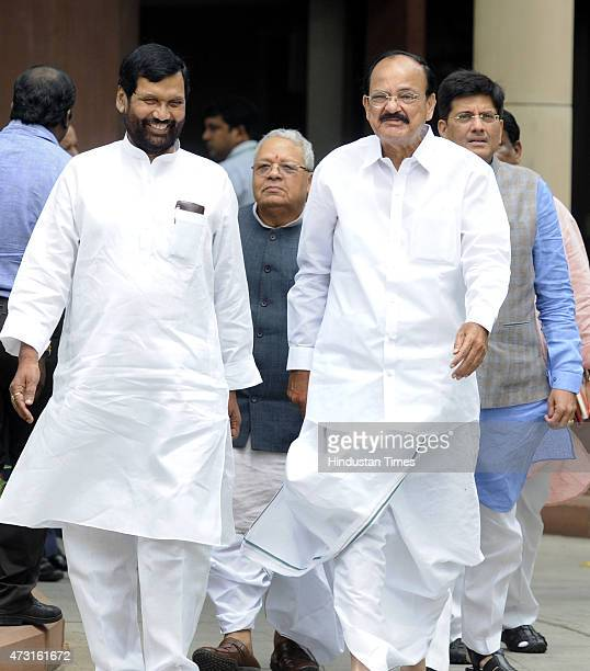 Cabinet Ministers from left Ramvilas Paswan Kalraj Mishra M Venkiah naidu and Piyush Goel coming out after cabinet meeting at Parliament on the...