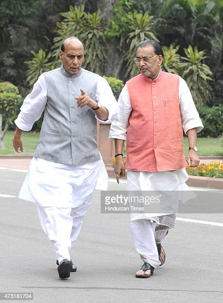 Cabinet Ministers Rajnath Singh and Radha Mohan Singh coming out after cabinet meeting at Parliament on the concluding day of Budget session on May...