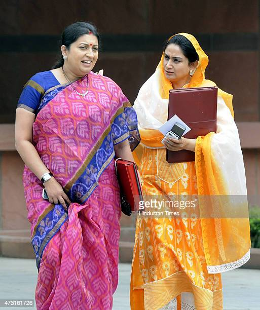 Cabinet Ministers Smiriti Irani and Harsimrat Kaur coming out after cabinet meeting at Parliament on the concluding day of Budget session on May 13...