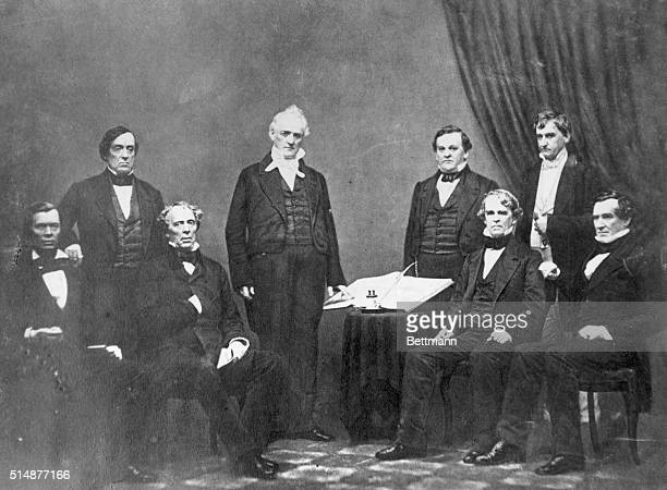Cabinet of President J Buchanan Standing at left to right Lewis Cass Buchanan Howell Cobb Hos Holt Seated Left to Right Jaocb Thimpson John B Floyd...