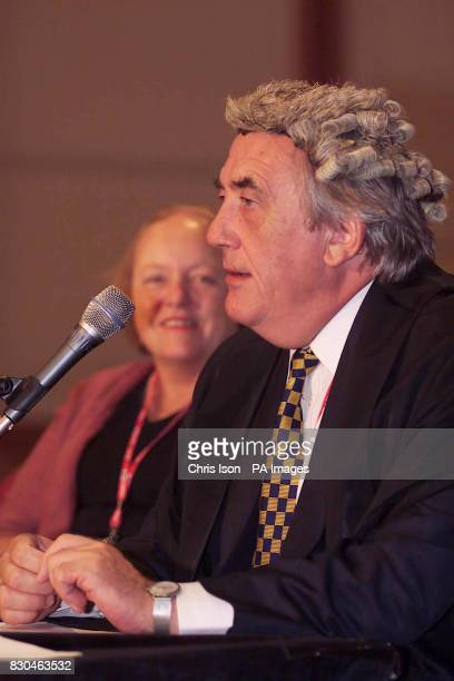 Cabinet office minister Mo Mowlam MP and Bob MarshallAndrews MP wearing a barristers wig while taking part in a spoof legal debate on the Millennium...