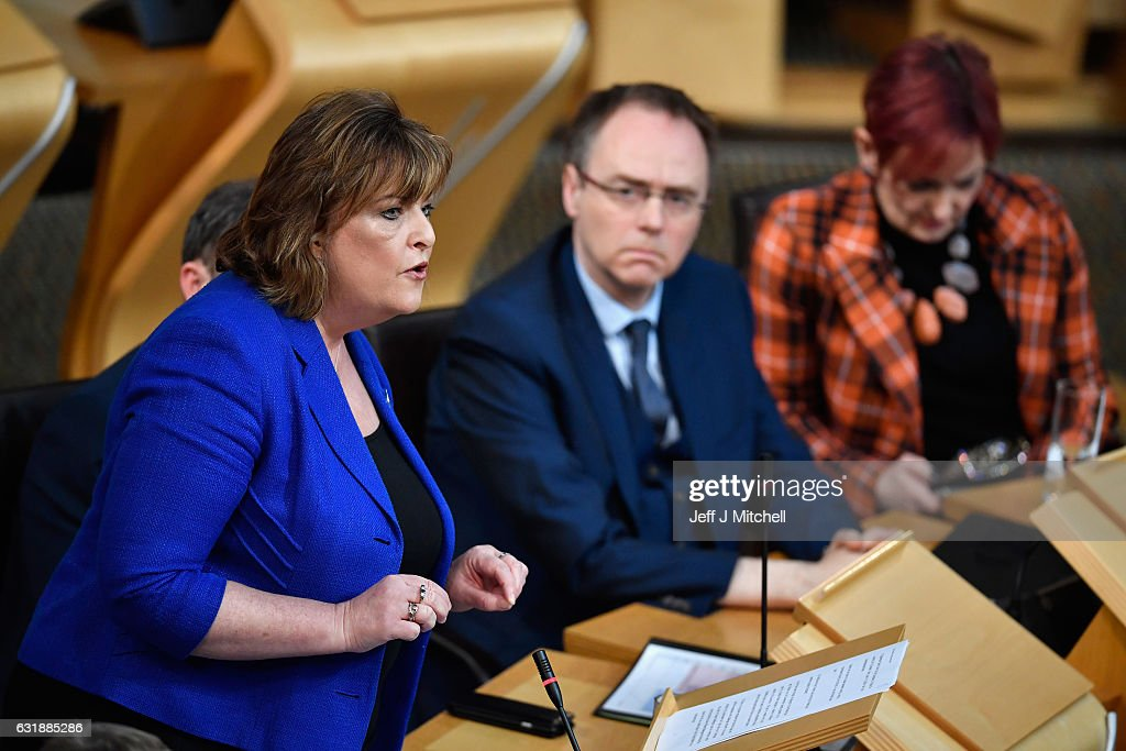 Cabinet Secretary Fiona Hyslop speaks during a debate to keep Scotland in the European single market at the Scottish Parliament on January 17, 2016 in Edinburgh, Scotland. The Prime Minister spoke to Nicola Sturgeon ahead of a speech confirming that the UK will leave the EU. The SNP leader has repeatedly raised the possibility of a second independence referendum if Scotlands membership of the single market is threatened by a so called hard Brexit.