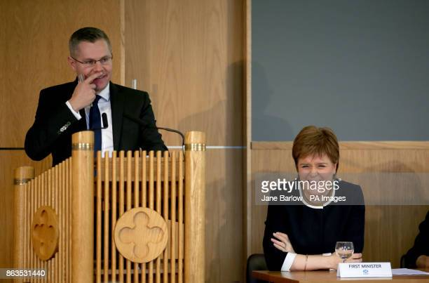 Cabinet Secretary for Finance Derek Mackay and First Minister Nicola Sturgeon during Scotland's Inclusive Growth Conference in Glasgow as she...