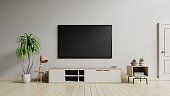 TV cabinet the cabinet in modern living room on white wall background,3d rendering