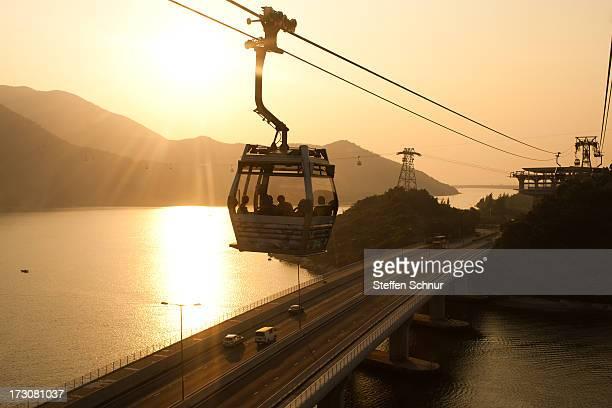 Cable car at sunset in Hong Kong